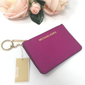 Michael Kors Coin Pouch Card Holder Small Fuchsia